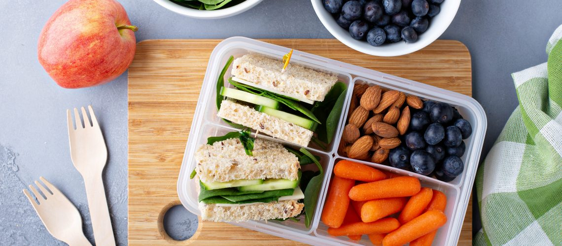 Healthy vegetarian lunch or snack to go with a sandwich, fruits and vegetables
